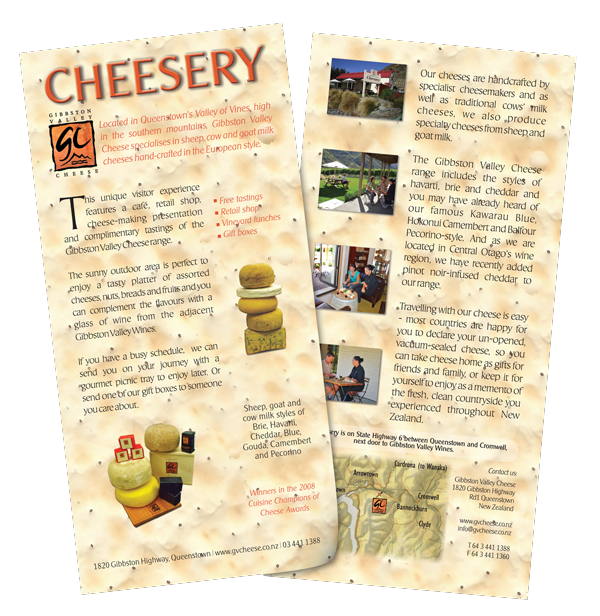 Gibbston Valley Cheese DL flyer